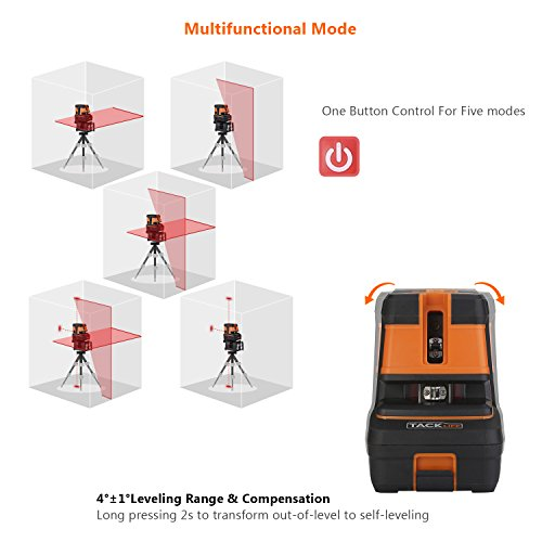 Tacklife SC-L06 3-Point Alignment Laser Level Self Leveling with Horizontal/Vertical Line and Cross-Line -- Enhanced Strong Magnetic Base, Soft Carrying Pouch, Batteries Included by TACKLIFE (Image #1)