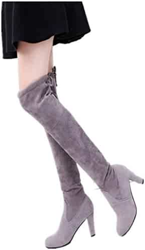 07e0a0ab3bb1 Kinghard Women Thigh High Over The Knee Boots Chunky Heels Shoes Combat  Style Comfy Vegan Suede