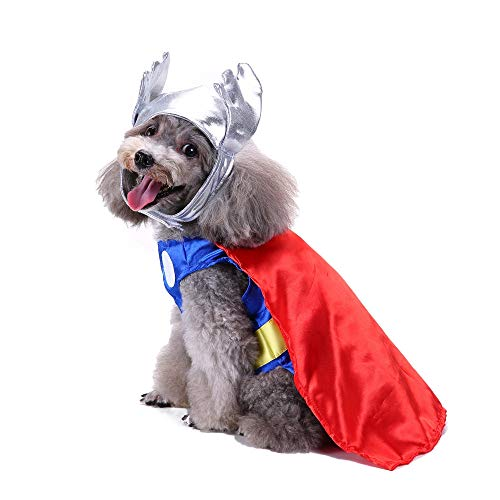 Fashion Halloween Polyester Costume Pet Dress Up Dog Clothes Thor Suit With Hat Dog Cold Weather Dog Jacket Small Dogs Pet Clothes For Dog Cat Puppy Sweatshirt Sweater Dog Outfits (Multicolor, S) ()