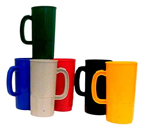 Beer Mugs Beer Steins Holds 22 Ounces to Brim Qty 6 1 ea Red Blue Yellow Granite Black Kelly Green, Very Durable, Brilliant Colors.