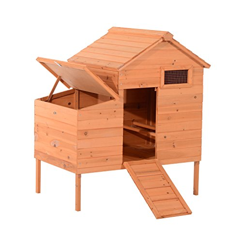 "PawHut 44"" Raised Outdoor Natural Wood Backyard Chicken Coop with Nesting Box and Ramp Entrance"