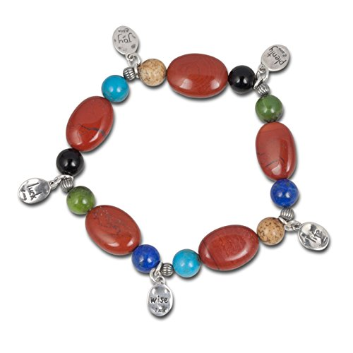 Carolyn Pollack Sterling Silver Multicolor Gemstone Bead and Charm Stretch Bracelet One Size Fits Most
