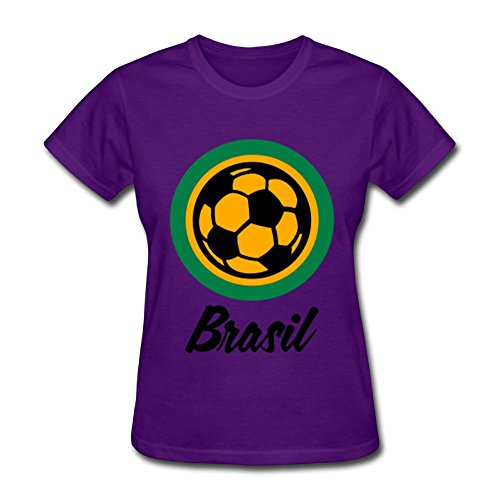 Unlongquhu Brazil Football Soccer Circles (3c) Women's Short Sleeve Distinctive T ShirtSize XXL Color Purple