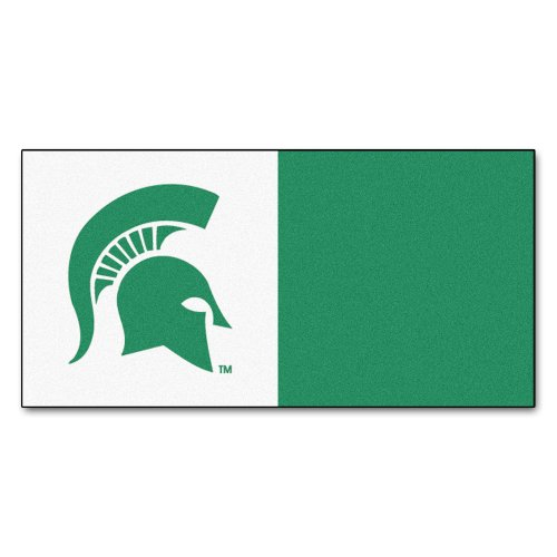 State Collegiate Carpet Tiles - Fanmats NCAA Michigan State University Spartans Nylon Face Team Carpet Tiles