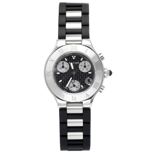Cartier Women's W10198U2 Must 21 Chronoscaph Stainless Steel and Black Rubber Chronograph Watch