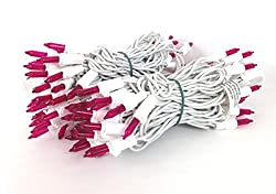 Vickerman Set Of 100 Pink Mini Christmas Lights - White Wire