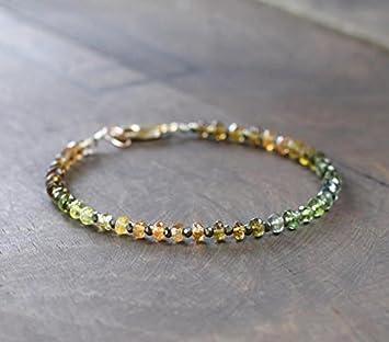 Ombre - Pulsera de turmalina en plata de ley o oro rosa relleno de piedras preciosas de color ámbar marrón verde, turmalina natural y pirita, 3 mm - 3,5 mm