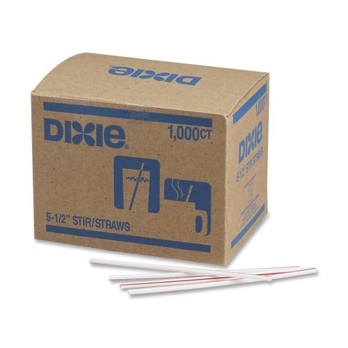 Wholesale CASE of 25 - Dixie Foods Beverage Stir Sticks -Stir Sticks, Plastic, 5-1/2'', 1000/BX, White w/ Red Stripes by DXE
