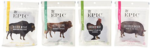 Meat Bison (Epic Jerky Bites Sampler Bison Meat, Uncured Bacon, Beef Steak, and Chicken Meat (2.5 Ounces Each))
