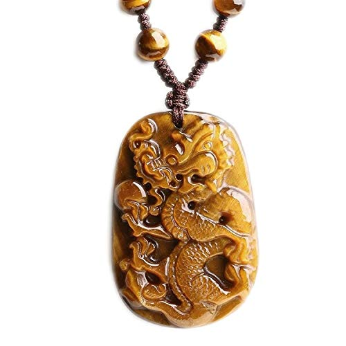 Card Pendant Necklace Yellow Tiger Eye Natural Stone Sweater Chain Necklace Zodiac Fashion Jewelry,Rope Chain