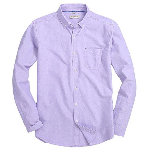 Purple Oxford - Piero Lusso Men's Long Sleeve Shirt Regular Fit Solid Color Oxford Casual Button Down Dress Shirt Light Purple Small