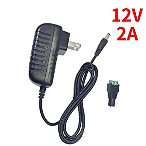 inShareplus 12V LED Strip Power Supply 2A 24W, Wall Mounted 12V Switching Power Supply, 110V to 12 Power Supply for LED Strip Light with 5.5/2.1 DC Female Barrel Connector to Screw Adapter