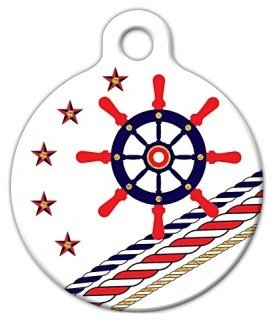 Theme Dog Tag (Nautical Theme Pet ID Tag for Dogs and Cats - Dog Tag Art - LARGE SIZE)