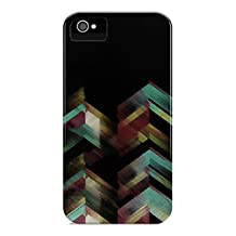 iPhone 5 / 5S, DECO FAIRY® , Stylish/ Wooden Patterned Print/ Tribal/ Geometric RUBBER Case - Black (Black Green Yellow)