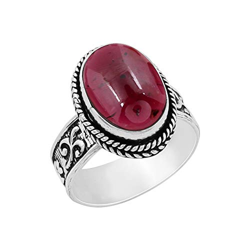 Genuine Oval Shape Garnet Solitaire Ring 925 Silver Plated Vintage Style Handmade for Women Girls - Genuine Garnet Ring Oval