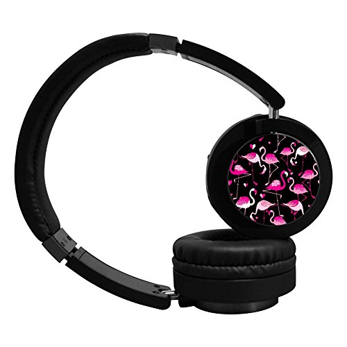 Cartoon Flamingo Wireless Bluetooth Soft Over-ear Earphones Adjustable Hi-Fi Headphones Foldable Sound Proof Headset for Teens Adults