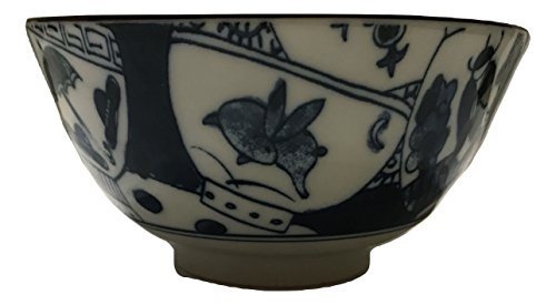 Maimi Blue Figural Boat Scene Ceramic Single Serving Rice Bowl (Japan Figural)