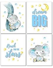 Maxx Graphixx Cute Elephants Wall Decor Art - Set of 4 (Unframed) Wall Prints 8x10 - Dream Big and Reach for The Stars