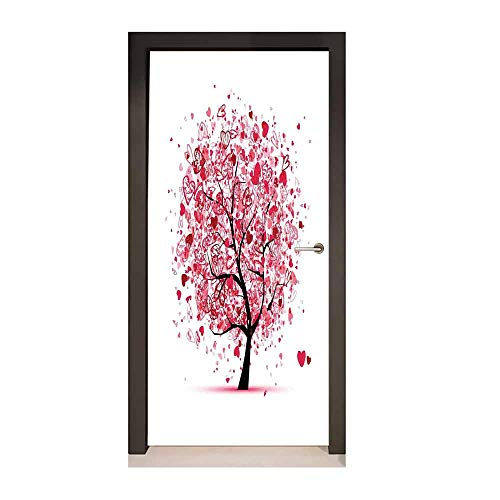 Tree of Life Door Sticker Ornate Valentine Tree with Swirling Hearts Doodles Love Future Couple Decorative Removable Vinyl Red Black,W23xH70 -