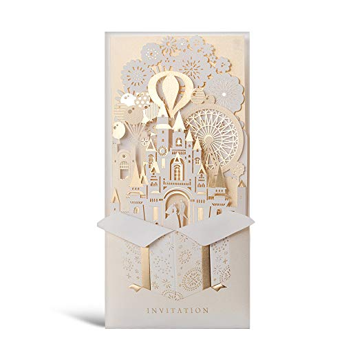 50 WISHMADE 3D Printable Blank Elegant Gold Laser Cut Wedding Invitations Cards Sets with Envelopes for Bridal Shower Engagement Party