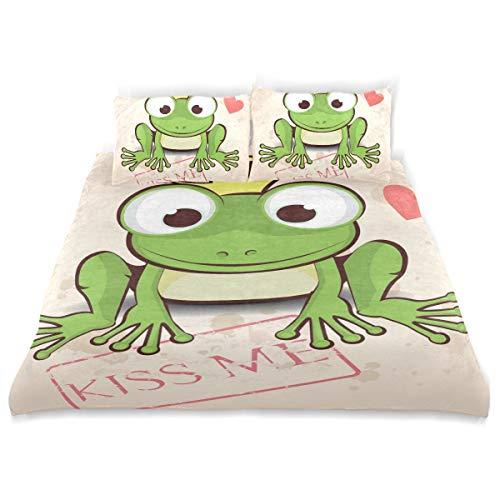 LONSANT Love Duvet Cover Set Love Card Cute Little Frog Design Bedding Decoration King Size 3 PC Sets 1 Duvets Covers with 2 Pillowcase Microfiber Bedding Set Bedroom Decor Accessories