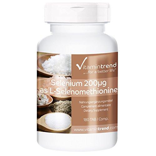 Selen 200µg - 180 Tabletten - hochdosiert - Reinsubstanz - organisch - für ½ Jahr