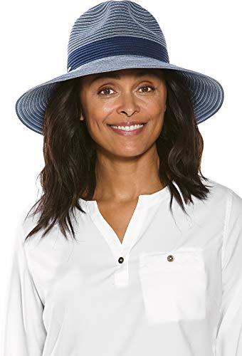 Coolibar UPF 50+ Women's Matera Classic Brim Hat - Sun Protective (One Size- Navy Colorblock)