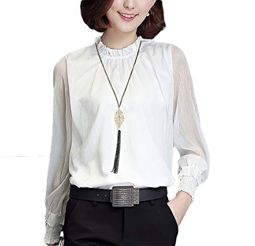 Thx Style Women's Casual Office Work Long Sleeve lace Chiffon Blouse Shirts Tops (XL, White) Stretchable Best Butterfly Frilly Polyester Georgette Suit Colored Professional Organza Classic White