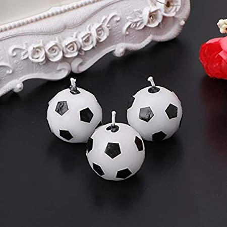 3pcs Soccer Football Candles Ball Shaped Cake Topper Birthday Party Decoration