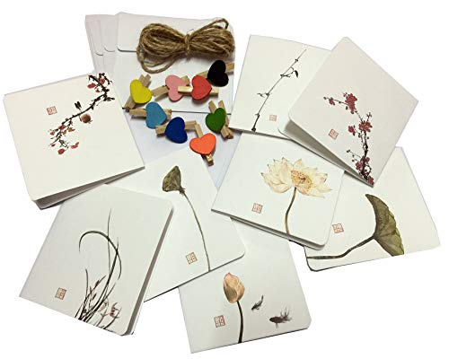 (8 PCS Aestheticism Featuring Hand-Drawn Card Embossed Flower and Brid Assorted Card with 8 Blank Envelopes, 8 clips and 6.5ft Jute Twine Use for All-Occasion Greetings or Home Decor )
