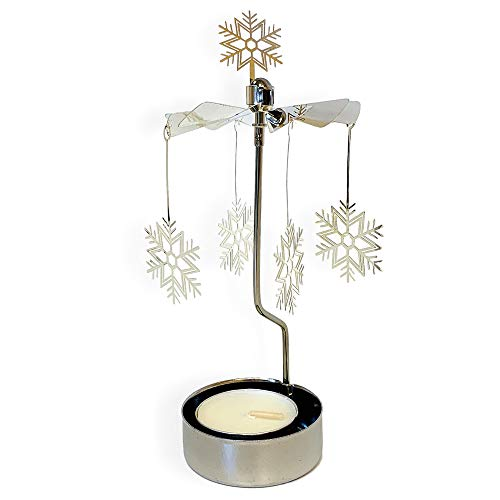 BANBERRY DESIGNS Spinning Snowflake Candle Holder - Silver Laser Cut Snowflake Charms Turn Around When the Candle is lit - Scandinavian Design Candle Holder ()