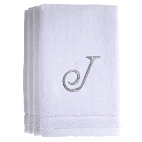 Monogrammed Towels Fingertip, Personalized Gift, 11 x 18 Inches - Set of 4- Silver Embroidered Towel - Extra Absorbent 100% Cotton- Soft Velour Finish - For Bathroom/ Kitchen/ Spa- Initial J (White) (Playboy Beach Towel)