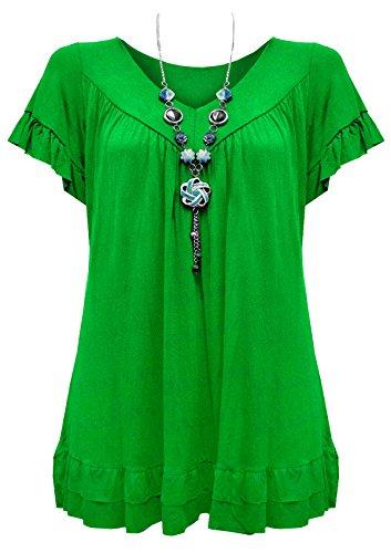 vert Fashions Courtes fort Femme SA Manches Chemisier zP1qx8R