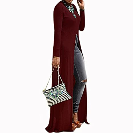 7bca16e3a87 Long Tunic Floor Length Top Front Slit Duster Long Sleeve Scoop Neck  Fashion Top at Amazon Women's Clothing store: