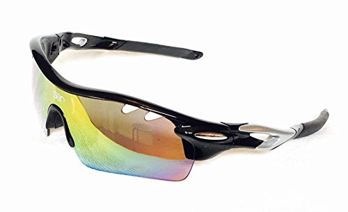 SER Polarized Sports Sunglasses with 5 Interchangeable Lenses for Men Women Cycling Running Fishing Golfing hiking climbing Basketball driving UV400 Protection TR90 - Sunglasses Ford Storage Case