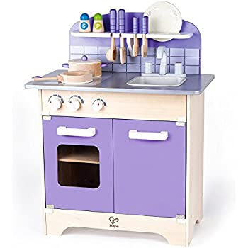 Hape Wood Kids Play Kitchen - Hape Toddler Toys Wooden Toy Kitchen with 13 Deluxe Wood Accessories