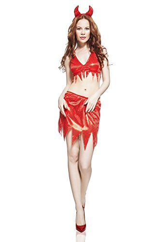 [Adult Women Red Devil Halloween Costume Hot Sexy Demoness Dress Up & Role Play (One size fits most,] (Hot Halloween Costumes Devil)