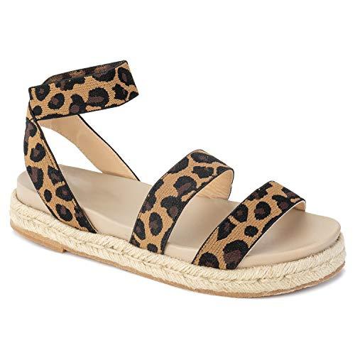 RF ROOM OF FASHION Women's Ankle Elastic Strap Espadrille Flatform Slide On Sandals Leopard Size.6.5