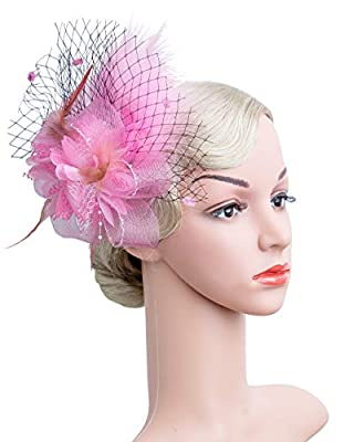 Women's Fascinators Hat Hair Clip Feather Wedding Headware Bridal 1920s Headpiece