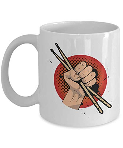 A Hand Holding Drum Sticks Graphic Illustration Art Coffee & Tea Gift Mug, Kitchen Items, Party Favors, Ornament, Novelty Stuff And Cool Cup Gifts For Drummer Boy, Girl And Men & Women Drummers]()