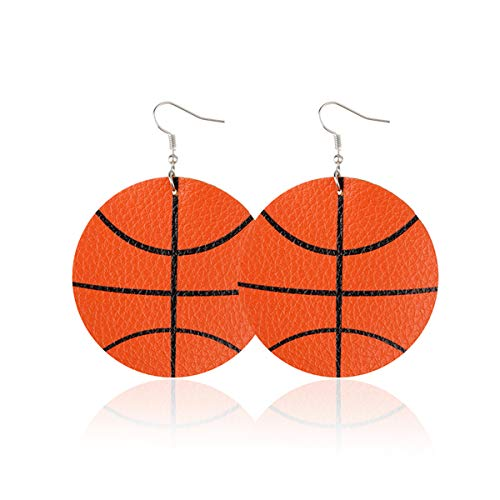 Women's Lightweight Youthful basketball earrings Faux Leather cute rounded Dangle Earrings (Basketball Round) -