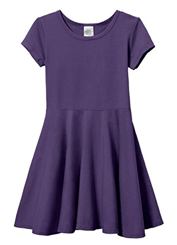 City Threads Big Girls' Short Sleeve Twirly Circle Party Dress Perfect For Sensitive Skin/SPD/Sensory Friendly For School or Play Fall/Spring, Purple, -