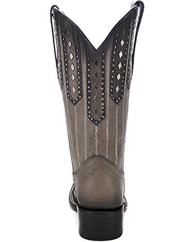 Innhegningen Kvinner Besatt Patch Cowgirl Boot Firkantet Tå - C3010 Svart
