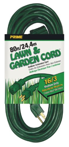 Prime Wire & Cable EC880633 80-Foot 16/3 SJTW Lawn and Garden Outdoor Extension Cord, Green (Extension Cord Prime)