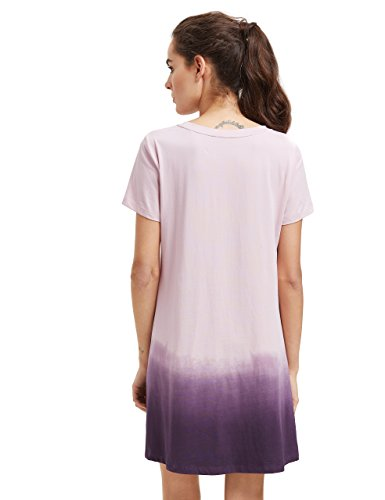 60f07ee7d010e Romwe Women's Tunic Swing T-Shirt Dress Short Sleeve Tie Dye Ombre Dress  Lilac L