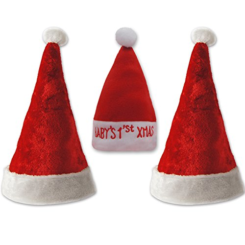 Ivenf 2+1 Family Classic Santa Hats Christmas Caps, Mini Size for Baby/Pet
