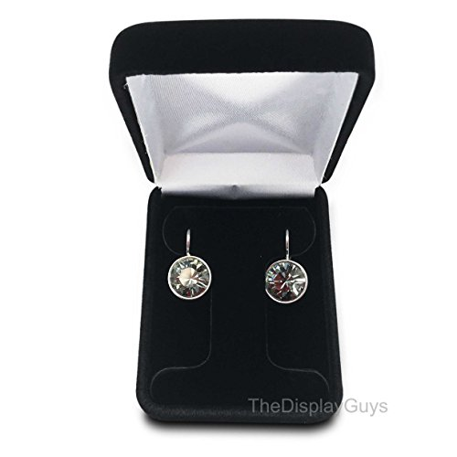 The Display Guys Deluxe Black Velvet Metal Gift Hoop Earring Box, Jewelry Presentation Display Metal Hinge, Comes With White Two Piece Packer (2 1/4x3x1 1/4 Inches )