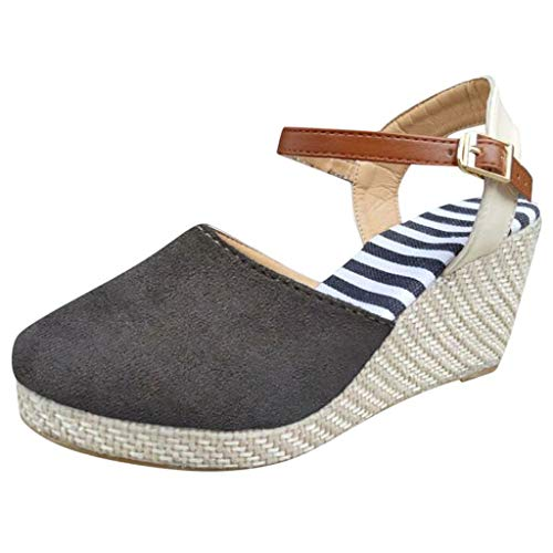 Midress Summer Women Casual Mid Heel Sandals Ethnic Wedge Shoes Beach Shoes Mid Chunky Heels Closed Pointed Toe Ankle Strap Pumps