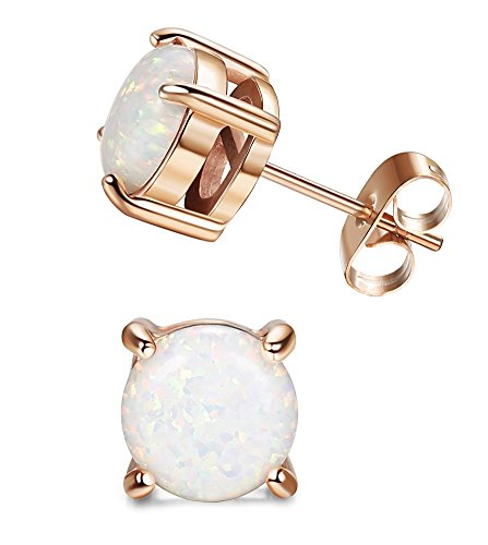 LOYALLOOK Stainless Steel Round Cut Created Opal Stud Earring for Women 7MM Rose Gold Tone