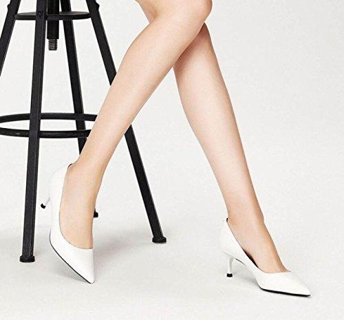 Zapatos De Femeninos Sandalias High Spring White Zapatos Estrecha Punta De De Bombas Corte New Ximu Boda Cómodo La Heels 0qIwBwa7